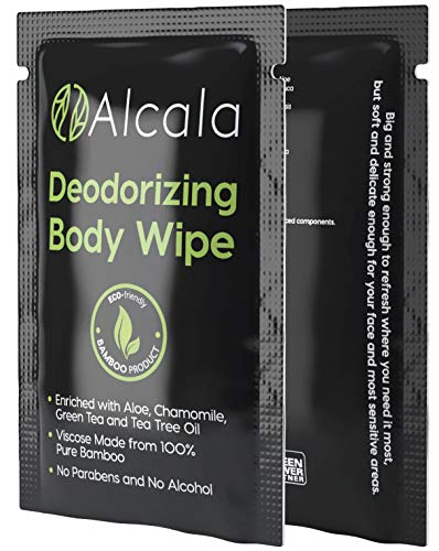 Deodorizing Body Wipes Pure Bamboo with Tea Tree Oil, Individually Wrapped Biodegradable Shower Wipes, Extra Large 10 x10 inches (30 Pack)
