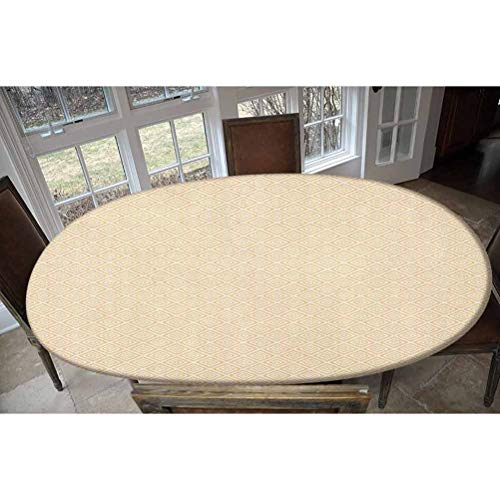 Elastic Polyester Fitted Table Cover,Geometric Repeating Pattern with Nested Squares Shabby Colored Checked Design Decorative Oblong/Oval Dinner Fitted Table Cloth,Fits Tables up to 48' W x 68' L