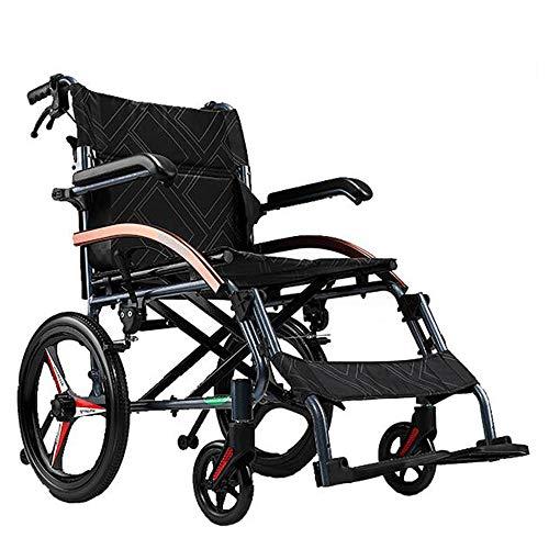 WDDMFR Ultraleichter Rollstuhl, höhenverstellbarer Rollstuhl für Erwachsene Klappbarer Freizeitrollstuhl für ältere und behinderte Menschen