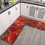 2-teiliges Küchenteppich-Set mit roten Mohnblumen, 2020 Garten-Thema, Geschenke, saugfähig,...