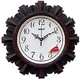 Oreva Plastic Wooden Look Designer Wall Clock (32 x 32 x 4 cm, Cola, AQ 6217)