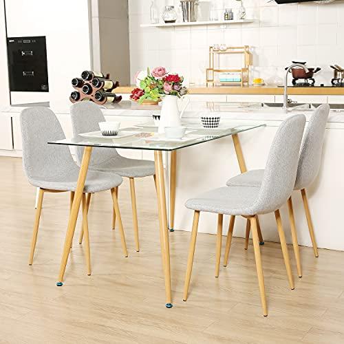 Mesa de Comedor de Cristal con 4 Sillas Conjunto de Comedor con Asiento Tapizado de Tela Gris para Comedor Bacyion SalóN O Cocina, 120x70 CM (Una Mesa de Comedor + Cuatro sillas de Comedor)