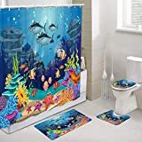 Blue Ocean Tropical Fish Coral Undersea World Shower Curtains with Rug Set, Underwater Sea animal with Starfish Bathroom Accessory, 4 Pcs Set-Shower Curtain & Bath Rug & Toilet Mat & Toilet Lid Cover