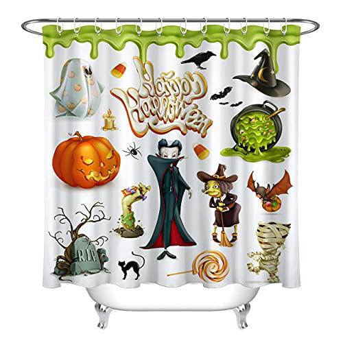 Happy Halloween Kürbis Ghost Candy Hexe Duschvorhang für Badezimmer,wasserdichtes & schnelltrocknendes Polyester,hochauflösendes Muster,12Haken,180X180cm,Heimtextilien