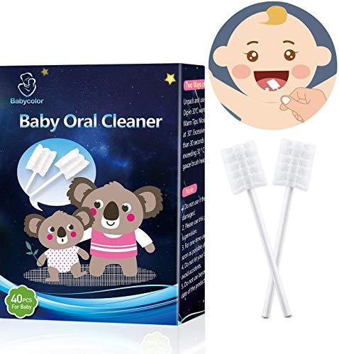 Cepillo de Dientes Bebé, Cepillo de dientes para bebés para limpiar la lengua gasa desechable, Cuidado bucal del bebé, Libre de BPA, Cepillo de Dientes Para Niños/Infantil, Portátil, 40 PCS