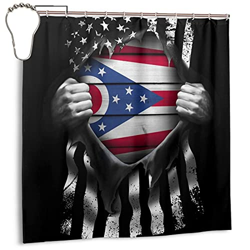 Waterproof Polyester Shower Curtain State of Ohio Flag Pull Apart for Bathroom Decor Shower Curtains Set with 12 Hooks Size 72 by 72