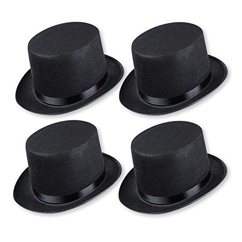 Schramm® 4 Stück Zylinder Hut mit Satinband Schwarz für Erwachsene Chapeau Zylinderhut