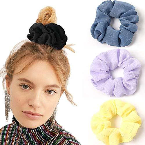 Genglass Elastics Streifen gedruckt Haar Scrunchies Schwarzes Haar Krawatten Gelb-Haar-Zusätze für Frauen-Mädchen-4er-Pack