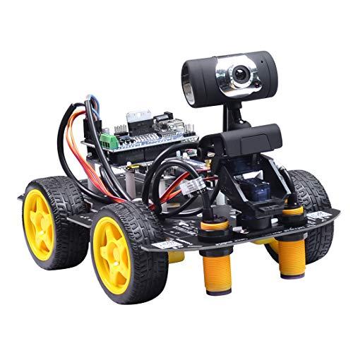 Haunen Smart Robot Car Kit Kompatibel mit Arduino UNO R3, Programmierbarer Robot Bausatz mit Grafikprogrammierung XR Block Linux Auto Roboter Spielzeug für Kinder