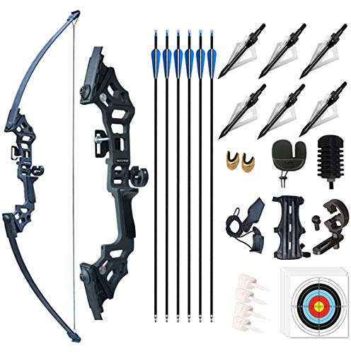 Monleap Archery 51' Takedown Recurve Bow and Arrows Set for Adults Metal Riser Longbow Kit Right Hand Straight Bow for Beginner Hunting Shooting Practice 30 40 50lb