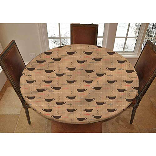 LCGGDB Coffee Elastic Edged Polyester Fitted Tablecolth -Coffee Cups Espresso- Small Round Fitted Table Cover - Fits Tables up to 40-44' Diameter,The Ultimate Protection for Your Table