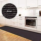 Floordirekt Alfombra de cocina Magnum | Alfombra de pasillo a medida para la cocina | Ancho: 100 cm, muchos Colores | Alfombra moderna (marrón, 100 x 100 cm)