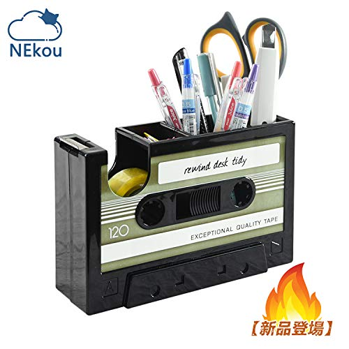 NEKOU ペン立て ペンスタンド 多機能 卓上収納ボックス 小物入れ カセットテープ型 簡易テープカッター 整理 オフィス デスク レトロ 懐かしい 個性的 面白い おしゃれ 実用 便利