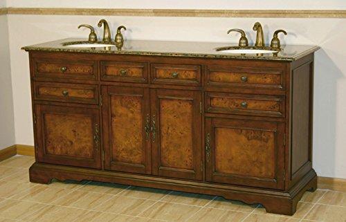 "Silkroad Exclusive HYP-0716-BB-UIC-72 Countertop Granite Stone Double Sink Bathroom Vanity with Cabinet, 72"", Medium Wood"