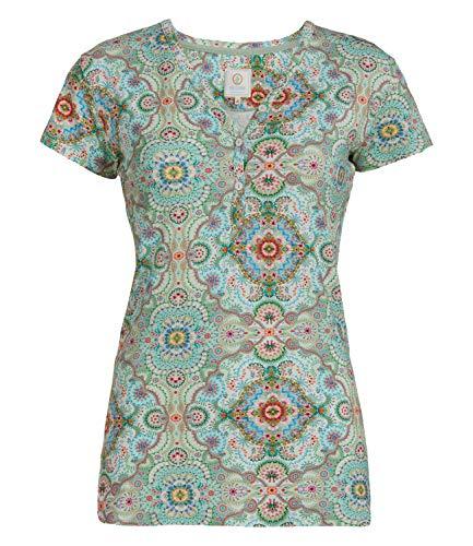 PiP Studio Damen T-Shirt Kurzarm Pyjama Oberteil Short Sleeve Teca Moon Delight, Farbe:Grün, Wäschegröße:S, Artikel:Green