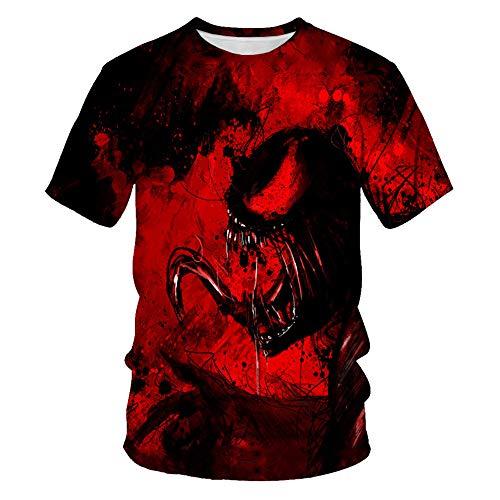 Unisex 3D Venom T-Shirts Mode Sommer Kurzarm Ghost Rider Cooles T-Shirt 3D Skull Print Tops Gift Skull T-Shirt Herren (A01,S)