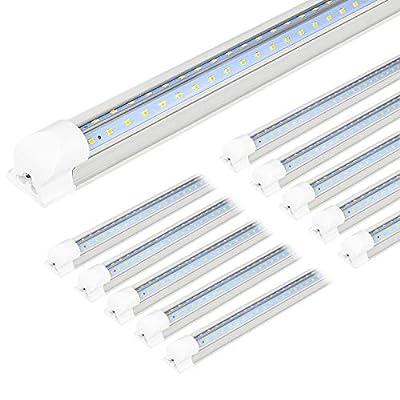 Hykolity 10 Pack 4FT LED Shop Light, 40W, 5200LM, 6500K Super Bright White, V Shape Integrated T8 LED Tube Light, 4 Foot Linkable Shop Lights With Built-in ON/Off Switch for Garage, Basement, Workshop