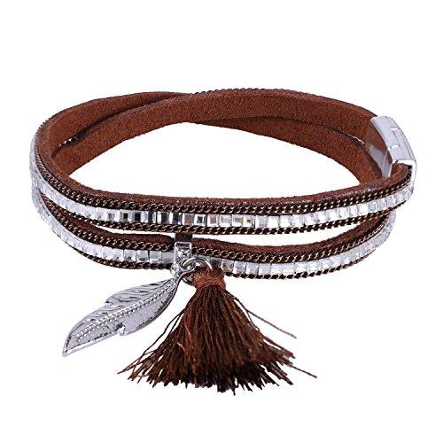 KELITCH Armbänder für Damen 2 Kreis Magnetismus Knopf Braun Leder Armband Ethno mit Blatt Quaste Anhänger