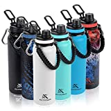 Extremus Deluge Stainless Steel Vacuum Insulated Sports Water Bottle with Wide Mouth, 100% Leak-Proof Chug Travel Lid, Thermos, w/Made in the USA Paracord Survival Handle,40 oz, Coastal Blue