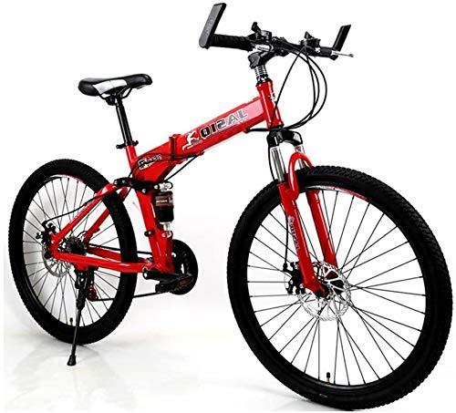 Vélo de montagne, Vélo de montagne adulte, 21-24 vitesses, roues de 26 pouces, Carbon Mountain Trail Bike Haute acier au carbone Full Suspension Cadre pliante Bicyclettes multiples (couleur: rouge, ta