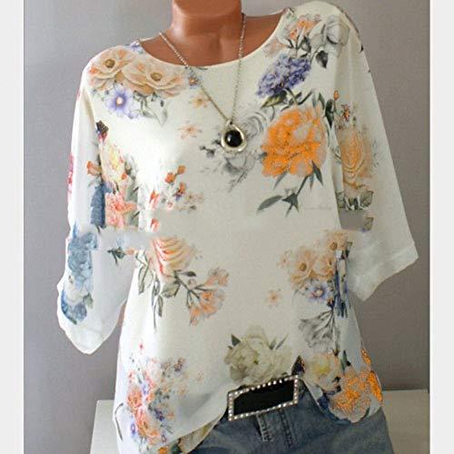 BGBG Women's T-Shirt Women's Daily Wear Plus Size Slim T-Shirt - Floral Floral/Fashion/Print Purple/Spring/Summer/Fall/Winter