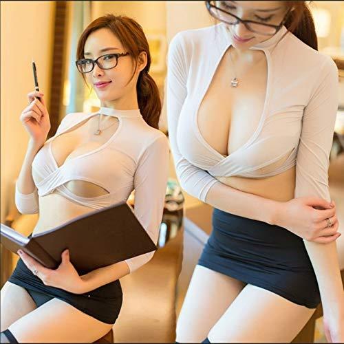 TWGDH Cosplay reizvolle Wäsche der Frauen heiße exotische Unterwäsche sexy Outfit Lehrer Sekretärin einheitliche Versuchung Rollenspiele Set Sex Kleidung (Color : White, Size : One Size)