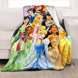 """Princess Throw Blanket, Flannel Fleece Blanket Princess Blankets for Little Girls Cozy Plush Warm Soft for Girls Women Princess Gift to Daughter Princess Party Favors, 60""""x50"""""""