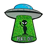 Stickeroonie Alien Pin Space Enamel Lapel Pin UFO Glitter Funny Pins 1.4 Inches Enamel Pins Backpack Pins Jean Pins Clothing Pins Hat Pins Cute Jacket Pins Cute Jewelry Lapel Pins