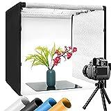Tragbares Fotostudio 60x60x60cm Lichtbox Lichtzelt Schießzelt-Kit mit 4 Hintergrundpapieren, 40*40*40cm Acrylplatte und Helligkeitsregler für Fotografie, Produktwerbung. LED Beleuchtung Fotografiebox
