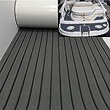 yuanjiasheng EVA Faux Teak Decking Sheet for Boat Yacht Non-Slip and Self-Adhesive Boat Flooring Pad 94.5'× 35.4' Bevel Edges (Dark Gray with Black Lines)