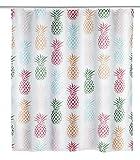 WENKO 23186100 Duschvorhang Ananas, waschbar, wasserabweisend mit 12 Duschvorhangringen, Polyester, 200 x 180 cm, Mehrfarbig