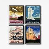 Wallbuddy 4er Set Nationalpark-Poster aus den späten