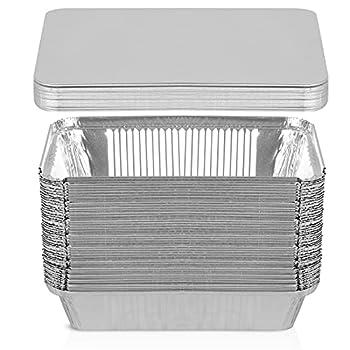 50 Pack Aluminum Pans with Lids,2.25 LB 8.5 ×6 ×2  Foil Pans for Cooking,Baking,Meal Prep,Freezer
