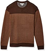 Amazon Brand - Goodthreads Men's Lightweight Merino Wool/Acrylic Crewneck Herrinbone Sweater