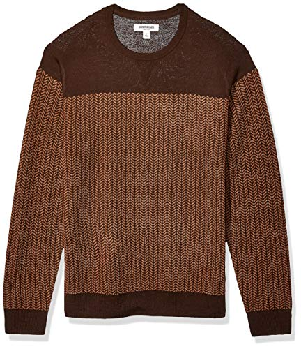 Amazon Brand - Goodthreads Men's Lightweight Merino Wool/Acrylic Crewneck Herrinbone Sweater, Brown Camel Medium