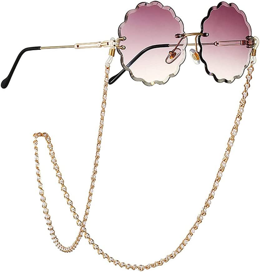 XJJZS Glasses Chain for Women Pearl Inlaid Chain Lanyard Glasses Strap Sunglasses Cords Casual Glasses Accessories (Color : A, Size : Length-70CM)