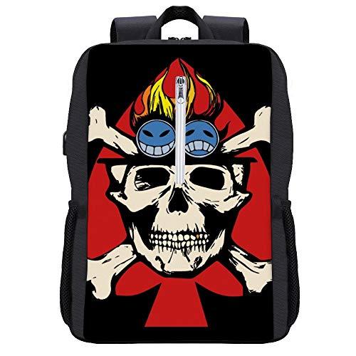 Fire Fist Aces Jolly Roger Rucksack Daypack Bookbag Laptop Schultasche mit USB-Ladeanschluss