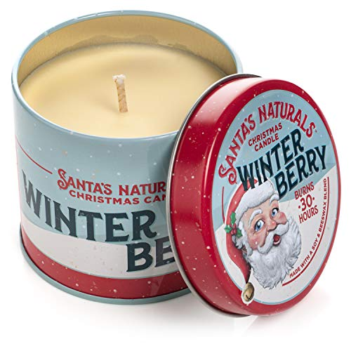 Santa's Naturals Winter Berry Christmas Candle | Warm Cider Fragrance | Notes of Cinnamon, Orange, and Clove | Sustainably Sourced Soy and Beeswax | 30 Hour Burn Time | 9oz