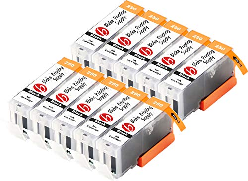 Blake Printing Supply Compatible Ink Cartridge Replacement for Canon PGI-250XL, CLI-251XL, Canon 251, Canon 250 (Pigment Black, 10-Pack)