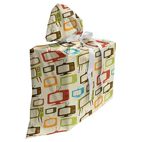 ABAKUHAUS Ancien Sac Cadeau pour Fête Prénatale, Old Retro télévision, Pochette en Tissu Réutilisable de Fête avec 3 Rubans, 70 x 80 cm, Multicolore