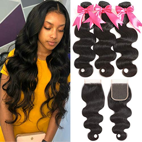 TIANTAI Brazilian Body Wave Virgin Hair 3 Bundles with Closure 9A Unprocessed Virgin Body Wave Human Hair Extensions with 4x4 Lace Free Part Natural Color(18/20/22+16)