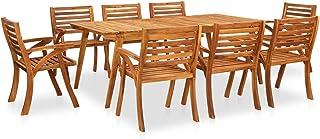 vidaXL Bois d'Acacia Solide Mobilier de Salle à Manger de Jardin 9 pcs Salon de Jardin Table et Chaises à Dîner de Patio E...