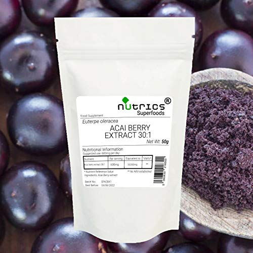 Nutrics 30:1 ACAI Berry Extract 50g Powder 100% Pure No Additives