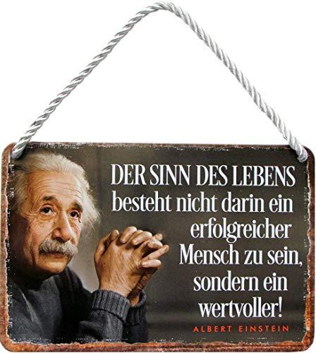 """Blechschilder Albert Einstein Zitat Spruch """"Der Sinn des Lebens, wertvoller!"""" Deko Hängeschild Nachdenken Leben Glück Metallschild Schild Geschenk zum Geburtstag oder Weihnachten 18x12 cm"""