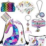 RLGPBON Unicornios Mochila con cordón/Maquillaje Bolsa/Collar de Cadena de aleación/Pulsera/5 Piezas de Lazos para el Cabello Unicornio/Unicornio Drawstring Gift para niñas (Type 11)
