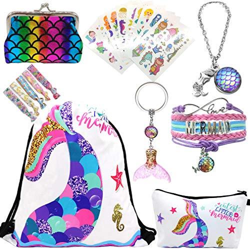Cadeaus voor meisjes, zeemeermin trekkoord rugzak en make-up tas, meisjes halsketting, schattige zeemeermin-armband, verstelbaar, en stickers voor kinderen