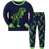 MIXIDON Jungen Schlafanzug Dinosaurier Pyjama Langarm Pyjama Set Kinder Baumwolle Winter Nachtwäsche 98 104 110 116 122 128 134