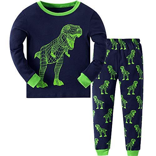 MIXIDON Niño Pijamas Dos Piezas Dinosaurio Ropa de Dormir 100% Algodón Manga Larga Pijamas para Niños,Pattern 1,7-8 Años