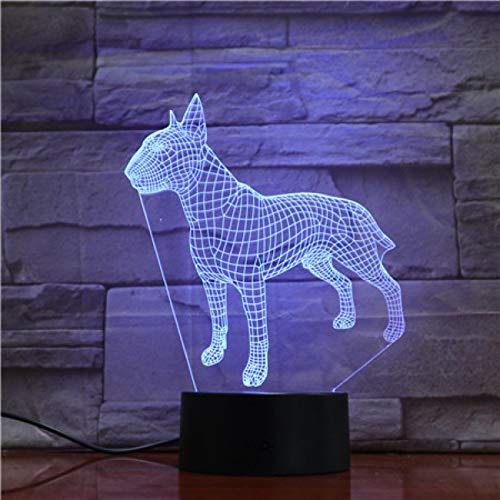 ZXBB Perro 3D Lámpara Ilusión Luz de Noche LED Bombilla Multicolor Atmósfera Americana Pit Bull Terrier Para Niños Niño Juguete