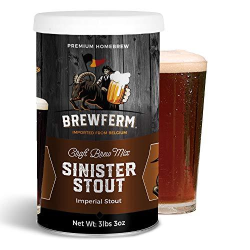 Brewferm Sinister Imperial Stout Brew Mix - 9 liters/2.5 gal - 7.5% ABV - Premium Homebrew Craft Brew Mix